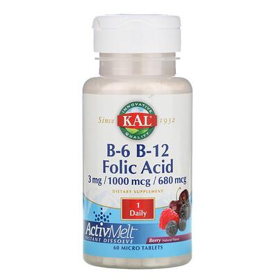 Купить KAL B-6, B-12, фолиевая кислота, ягода, 60 микротаблеток