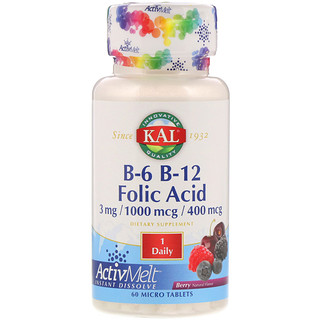 KAL, B-6 B-12 Folic Acid, Berry, 60 Micro Tablets
