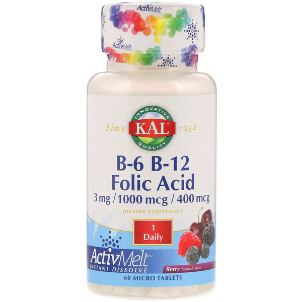 B-6 B-12 Folic Acid, Berry, 60 Micro Tablets