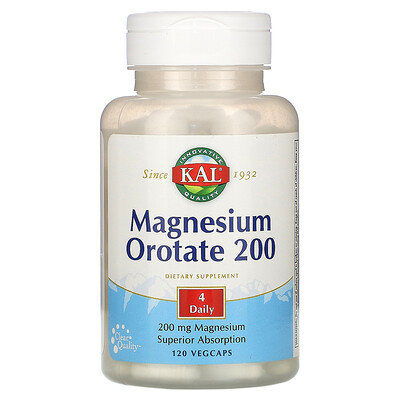 KAL Magnesium Orotate 200, 200 mg, 120 Vegcaps