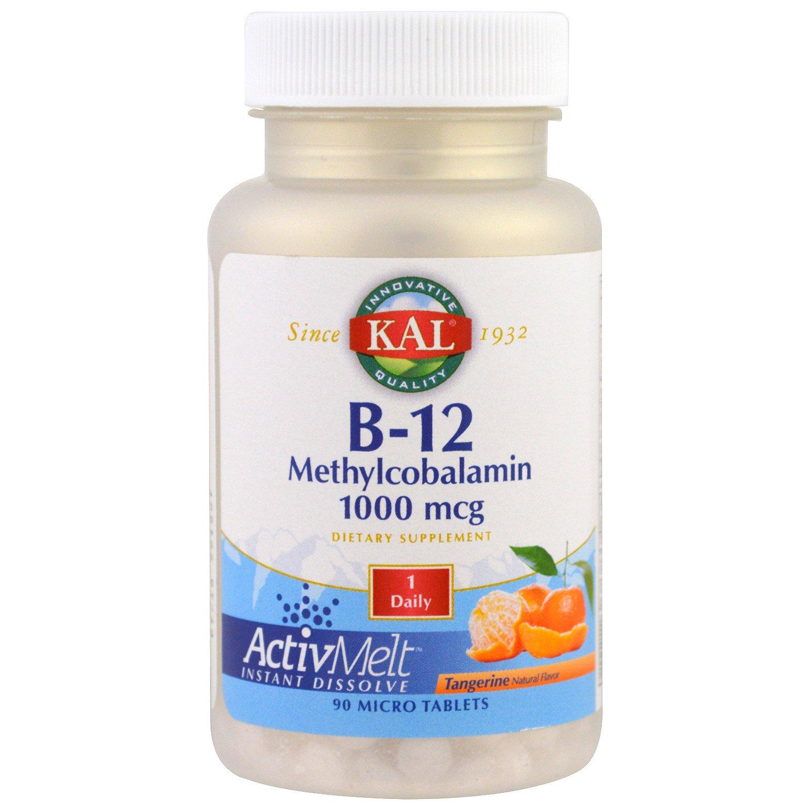 KAL, B-12 метилкобаламин, мандарин, 1000 мкг, 90 микро таблеток