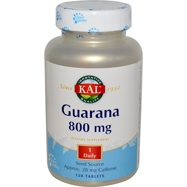 KAL, Guarana, 800 mg, 120 Tablets (Discontinued Item)