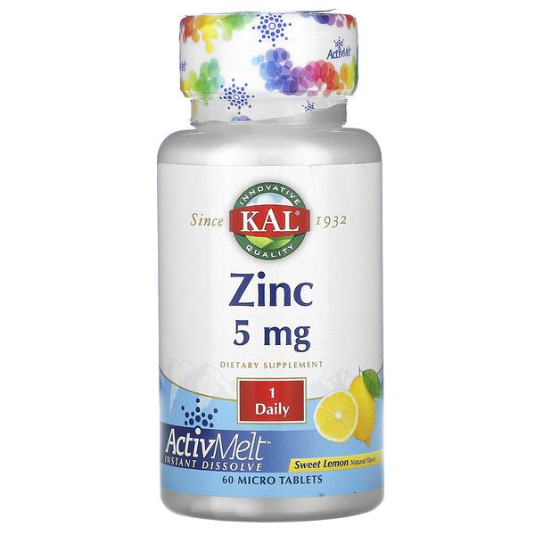 Zinc, Sweet Lemon, 5 mg, 60 Micro Tablets