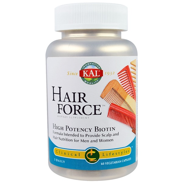 KAL, Hair Force, High Potency Biotin, 60 Veggie Caps