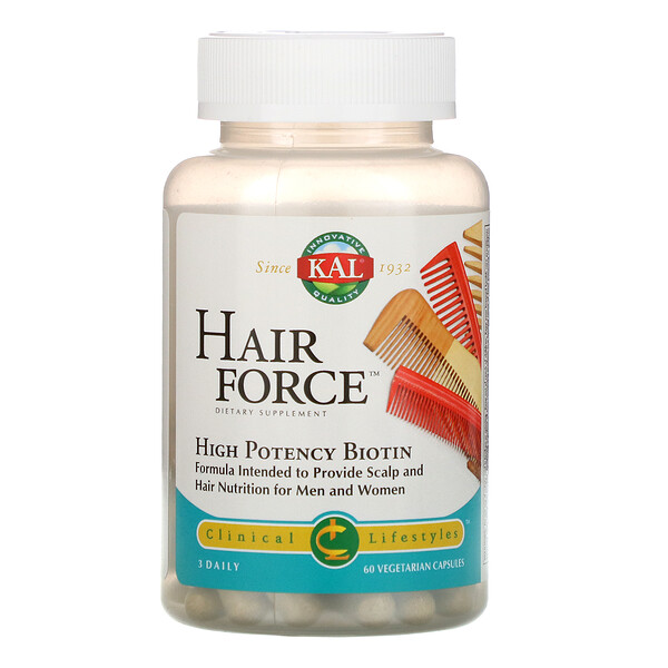 KAL, Hair Force, High Potency Biotin, 60 Vegetarian Capsules