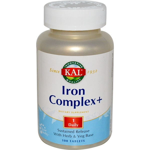 KAL, Iron Complex +, 100 Tablets (Discontinued Item)