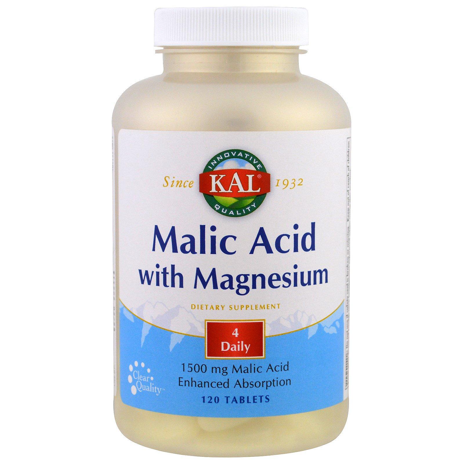 KAL, Яблочная кислота с магнием, 120 таблеток