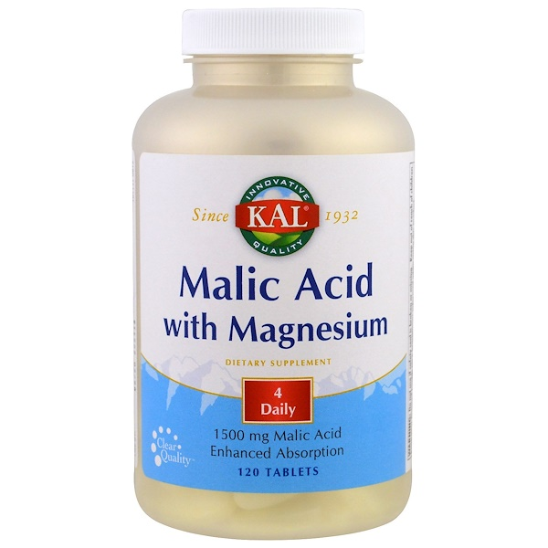 KAL, Malic Acid with Magnesium, 120 Tablets