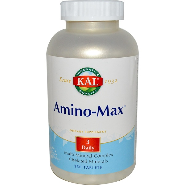 KAL, Amino-Max, Multi-Mineral Complex, 250 Tablets (Discontinued Item)