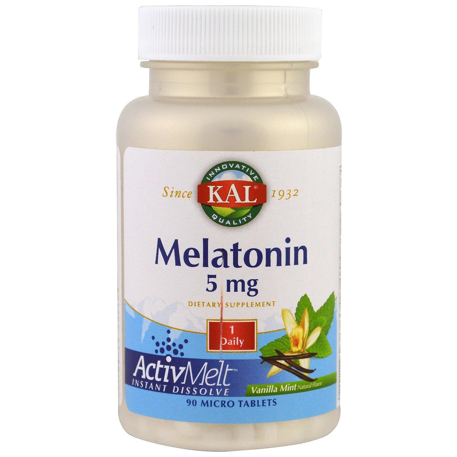 Kal Melatonin 3 Mg 120 Tablets: KAL, Melatonin, Vanilla Mint, 5 Mg, 90 Micro Tablets