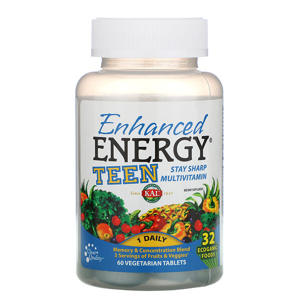 KAL, Enhanced Energy, Teen, Memory & Concentration Blend, 60 Vegetarian Tablets