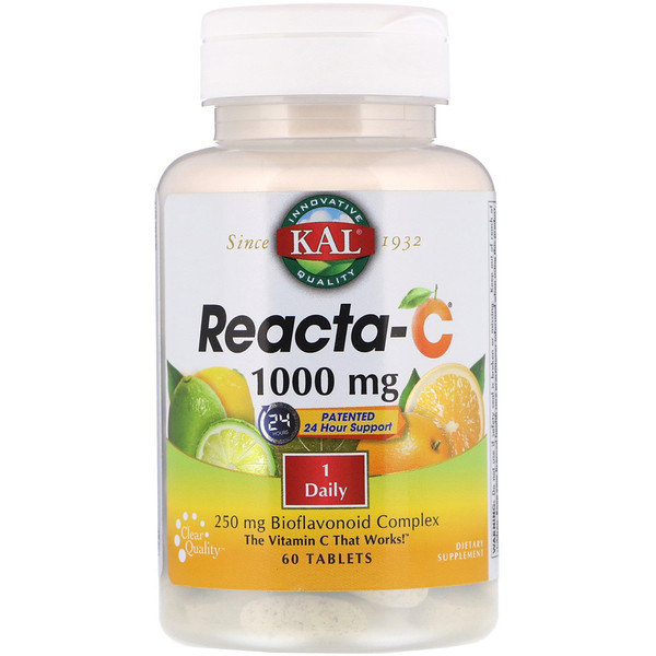 KAL, Reacta-C, 1,000 mg, 60 Tablets