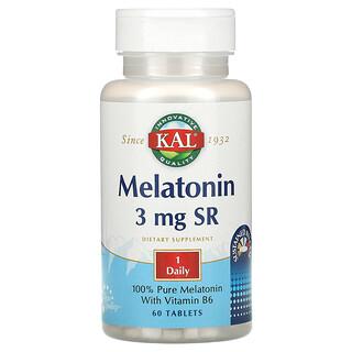 KAL, Melatonin SR with Vitamin B6, 3 mg, 60 Tablets