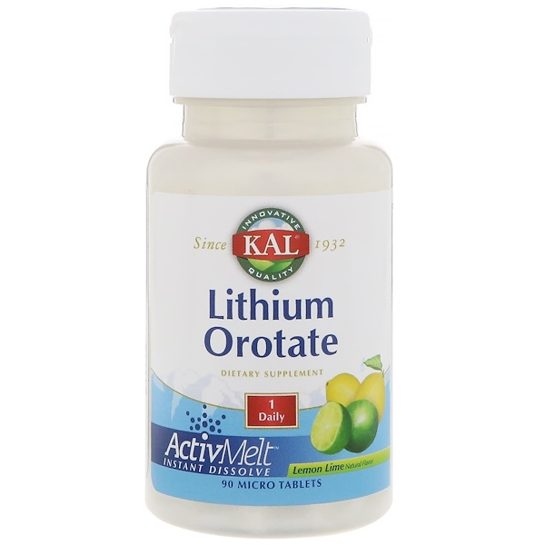 KAL, Lithium Orotate, Lemon Lime Natural Flavor, 90 Micro Tablets (Discontinued Item)