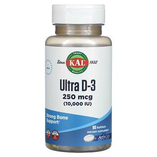KAL, Ultra D-3, 250 mcg (10,000 IU), 90 Softgels