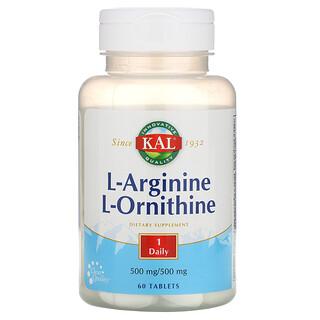 KAL, L-Arginine L-Ornithine, 500 mg /500 mg, 60 Tablets