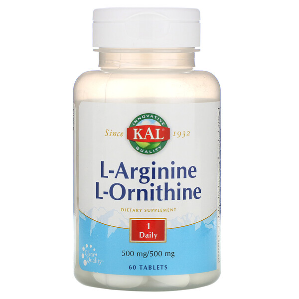 L-Arginine L-Ornithine, 500 mg /500 mg, 60 Tablets