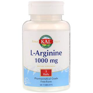 KAL, L-Arginine, 1000 mg, 60 Tablets