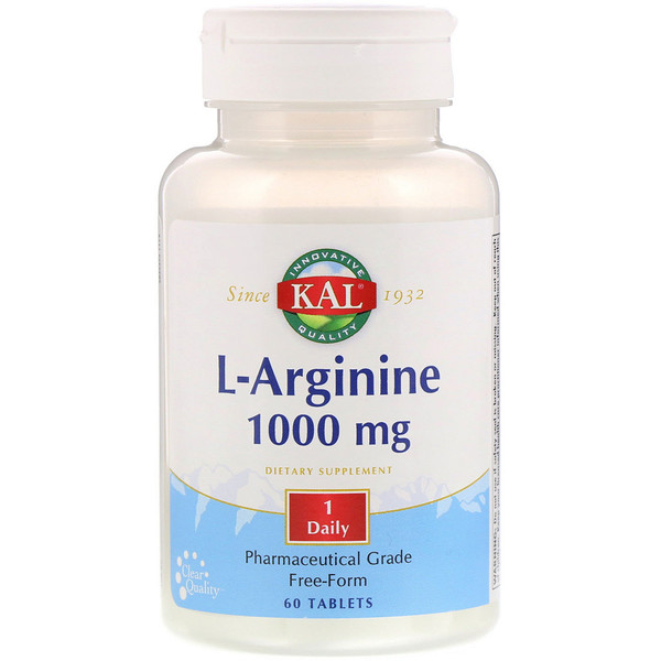KAL, L-Arginine, 1000 mg, 60 Tablets
