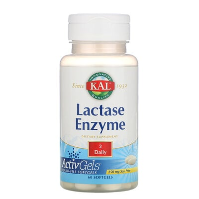 KAL Фермент лактаза, 250 мг, 60 мягких капсул