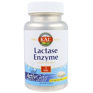KAL, Lactase Enzyme, 250 mg, 60 Softgels