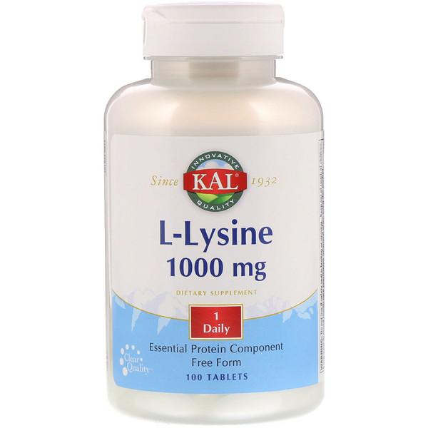 KAL, L-Lysine, 1000 mg, 100 Tablets