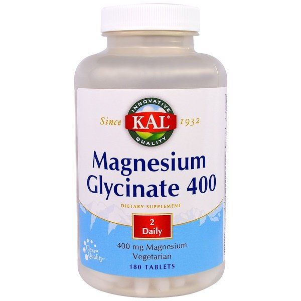 KAL, Magnesium Glycinate 400, 400 mg, 180 Tablets