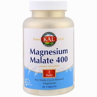 KAL, Magnesium Malate 400, 90 Tablets