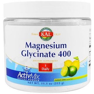 KAL, Magnesium Glycinate 400, Lemon Lime, 11.1 oz (315 g)