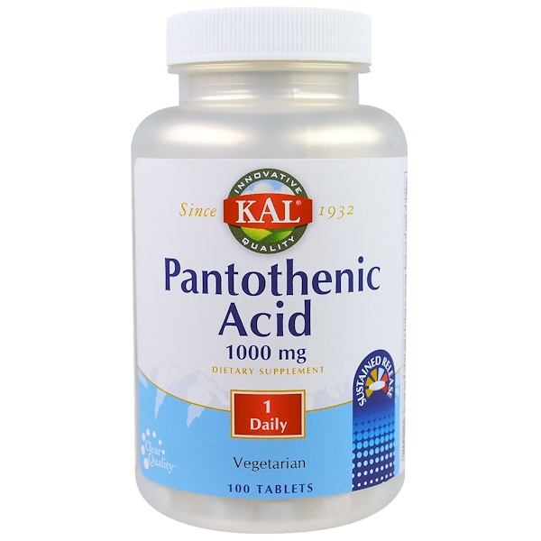 KAL, Pantothenic Acid, 1000 mg,  100 Tablets