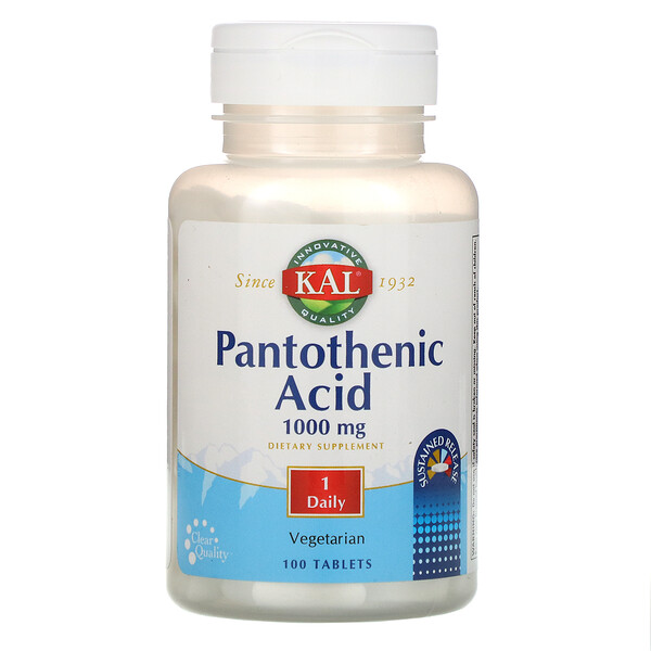 Pantothenic Acid, 1000 mg,  100 Tablets