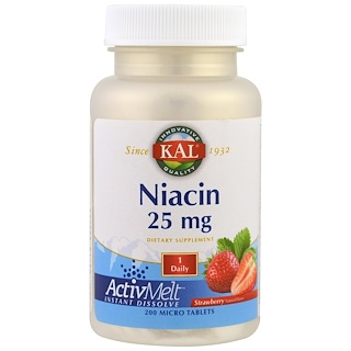 KAL, Niacin, Strawberry, 25 mg , 200 Micro Tablets
