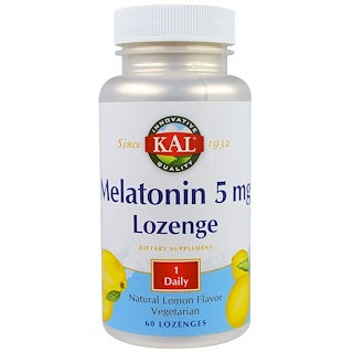 KAL, Melatonin Lozenge, Natural Lemon Flavor, 5 mg, 60 Lozenges