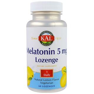 KAL, Drágeas de Melatonina, Sabor Natural de Limão, 5 mg, 60 Drágeas