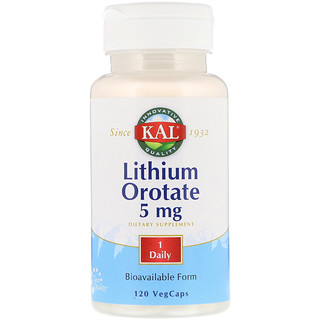 KAL, Orotato de litio, 5 mg, 120 cápsulas vegetarianas