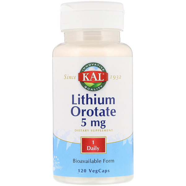KAL, Orotato de Lítio, 5 mg, 120 Cápsulas Vegetais