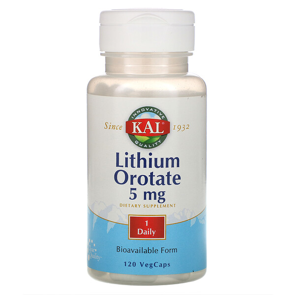 リチウムオロテート、5mg、植物性カプセル120粒