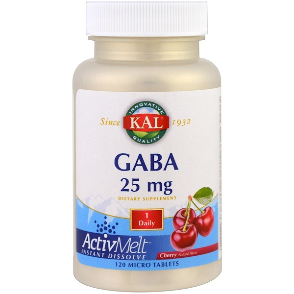 KAL, GABA, Cherry, 25 mg , 120 Micro Tablets