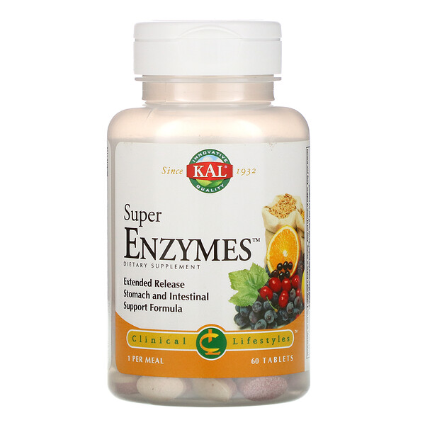 KAL, Super Enzymes, 60 Tablets
