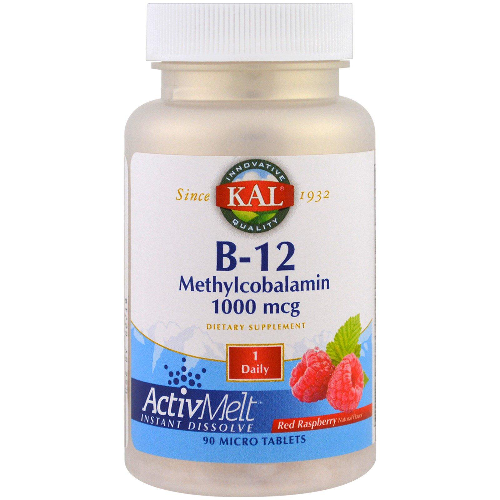 KAL, B-12 метилкобаламин, красная малина, 90 микротаблеток