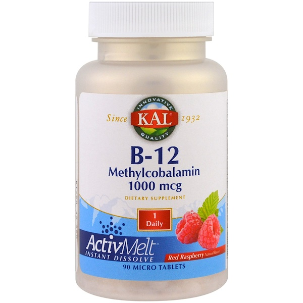 KAL, B-12 Methylcobalamin, Red Raspberry, 1000 mcg, 90 Micro Tablets (Discontinued Item)