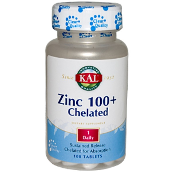 KAL, Zinc 100+ Chelated, 100 Tablets (Discontinued Item)