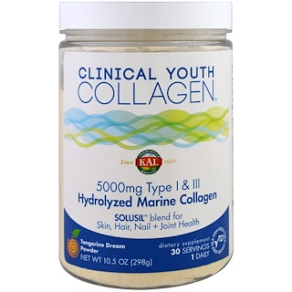 KAL, Hydrolyzed Marine Collagen, Tangerine Dream Powder, 5000 mg, 10.5 oz (298 g)