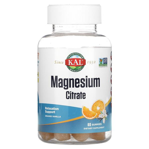 Magnesium Citrate, Relaxation Support, Orange Vanilla,  60 Gummies
