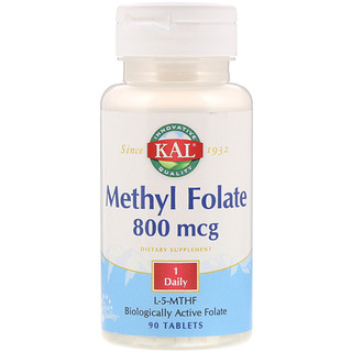KAL, Methyl Folate, 800 mcg, 90 Tablets