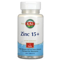 KAL, 鋅 15+,含甜菜堿鹽酸和微量礦物質,100 片