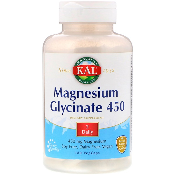 KAL, 甘氨酸鎂 450,180 粒素食膠囊
