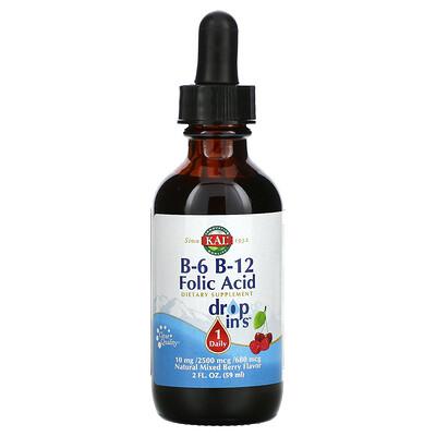 KAL B-6 B-12 Folic Acid, Natural Mixed Berry, 2 fl oz ( 59 ml)
