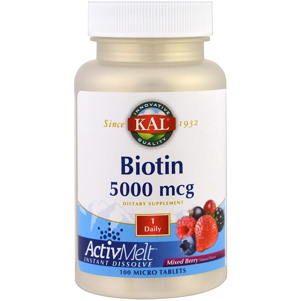 KAL, Biotin, Mixed Berry, 5000 mcg, 100 Micro Tablets (Discontinued Item)