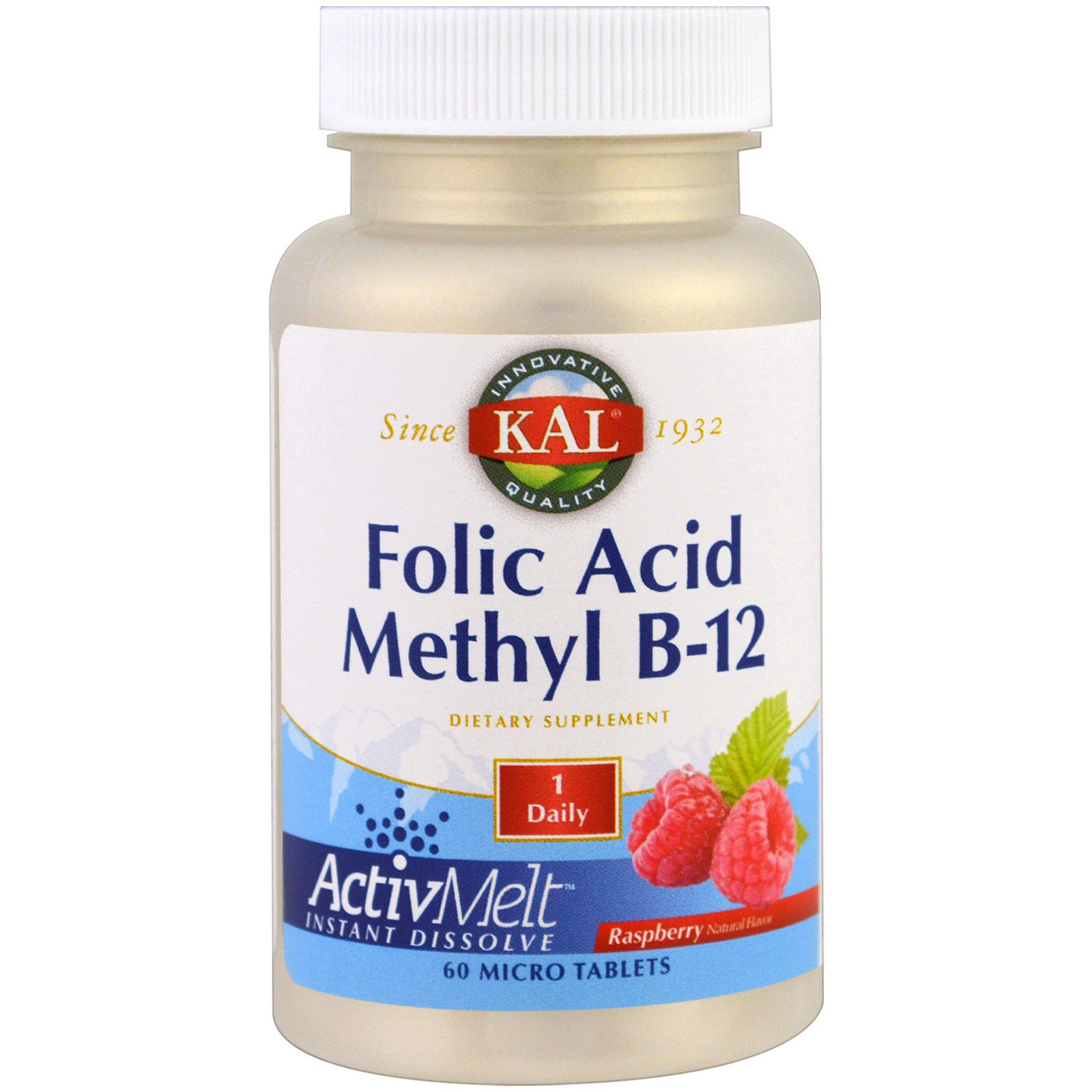 KAL, Folic Acid Methyl B-12, ActivMelt, Raspberry , 60 Micro Tablets